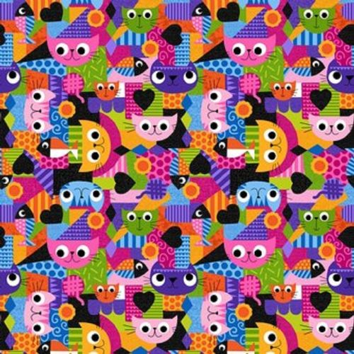 Blank Quilting - Pawsome Cats Multi Coloured Fabric